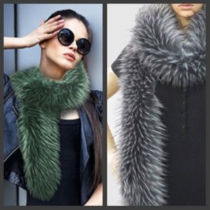 Accessories - Long Faux Fox Fur Scarf in Green orSilver/Gray,NWT